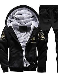 cheap Men's Hoodies & Sweatshirts-Men's Sports Active Long Sleeve Hoodie - Print Print Hooded Navy Blue XXL / Winter