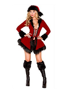 Santa Claus Mrs.Claus Outfits Female Christmas Festival / Holiday Halloween Costumes Black White Solid Holiday Christmas