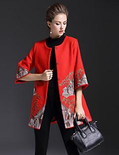 preiswerte Überbekleidung-Damen Anspruchsvoll Boho Party Festtage Standard Mantel / Capes, Rundhalsausschnitt Winter Wolle Polyester Druck Bestickt