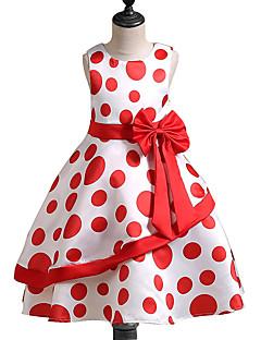 Feestdagen Uitgaan Polka dot Polyester Zomer Herfst Mouwloos voor meisjes Jurk Schattig Prinses blauw Rood