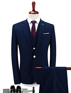 Dark Blue Solid Standard Fit Polyester Suit - Notch Single Breasted One-button