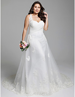cheap Plus Size Wedding Dresses-A-Line Sweetheart Neckline Court Train Tulle Over Lace Made-To-Measure Wedding Dresses with Appliques / Criss Cross / Lace-up by LAN TING BRIDE® / Open Back / Beautiful Back