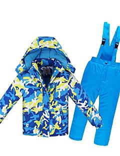 お買い得  スキーウェア-子供用 スキージャケット&パンツ ウォーム 防水 防風 耐久性 静電気防止 スキー 環境に優しい ポリエステル PUレザー