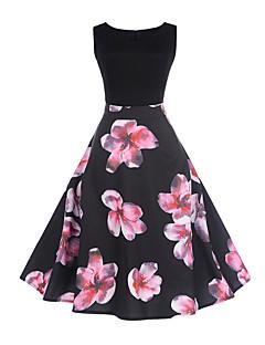 Damen A-Linie Kleid-Ausgehen Lässig/Alltäglich Blumen Patchwork Rundhalsausschnitt Übers Knie Ärmellos Polyester Andere Mittlere Hüfthöhe