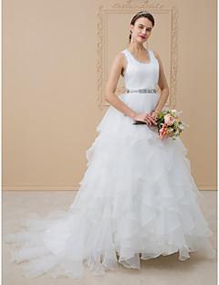 cheap Wedding Dresses-A-Line Princess Scoop Neck Sweep / Brush Train Chiffon Tulle Wedding Dress with Beading Sash / Ribbon Sashes/ Ribbons Cascading Ruffles by