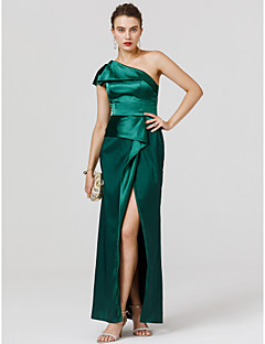 cheap Celebrity Dresses-Sheath / Column One Shoulder Floor Length Satin Cocktail Party / Formal Evening / Black Tie Gala / Holiday Dress with Split Front by TS