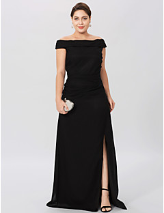 cheap Wedding Guest Dresses-Sheath / Column Off Shoulder Floor Length Chiffon Mother of the Bride Dress with Pleats Split Front by LAN TING BRIDE®