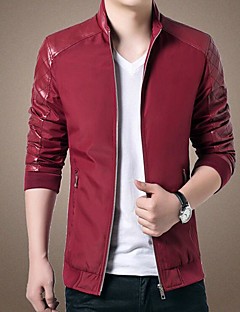 Men's Sports Going out Leisure Korean Fall Winter Leather Jacket,Solid Stand Long Sleeve Regular PU