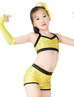 cheap Cheerleader Costumes-Cheerleader Costumes Outfits Women's Performance Spandex Elastic Stretch Satin Sequined Paillette Sleeveless Dropped Top Shorts