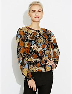 Chemisier Femme,Fleur Sortie Décontracté / Quotidien simple Manches Longues Col Arrondi Polyester