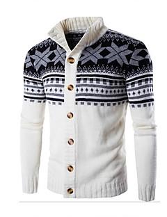 Χαμηλού Κόστους Men's Fashion Cardigans-Ανδρικά Ενεργό Μακρυμάνικο Κολάρο Πουκαμίσου Ζακέτα - Συνδυασμός Χρωμάτων