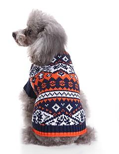 billiga Hundkläder-Katt Hund Tröjor Hundkläder Färgblock Blå Rosa Akrylik Fiber Kostym För husdjur Herr Dam Ledigt/vardag Färgblock Mode