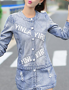 Women's Daily Going out Cute Winter Fall Denim Jacket,Letter Round Neck Long Sleeves Regular Cotton Nylon