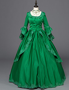 Victorian Rococo Ladies' One-Piece/Dress Green Cosplay Satin Long Sleeves Floor Length