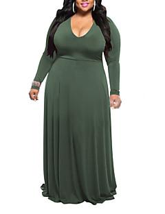 preiswerte -Damen Hülle Kleid-Lässig/Alltäglich Übergröße Einfach Street Schick Solide Tiefes V Maxi Langarm Polyester Hohe Hüfthöhe Mikro-elastisch