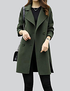 Women's Going out Simple Fall Winter Coat,Solid Shirt Collar Long Sleeve Regular Polyester