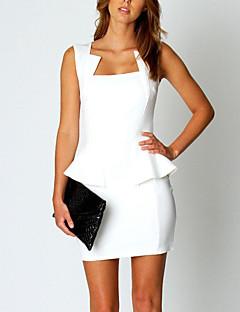 Kadın Günlük/Sade Çalışma Basit Seksi Bandaj Elbise Solid,Kolsuz Asimetrik Yaka Mini Polyester Bahar Yaz Normal Bel Mikro-Esnek Opak