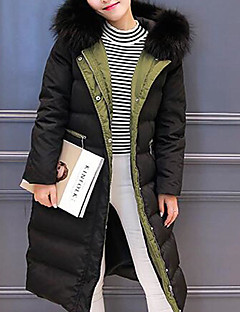 Women's Long Down Coat,Simple Casual/Daily Solid-Polyester White Duck Down Long Sleeves