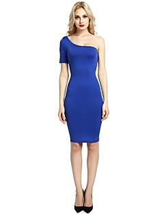 tanie Sukienki-Damskie Bodycon Shift Pochwa Sukienka - Jendolity kolor, Bez pleców Na jedno ramię Wysoka Talia