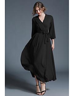 levne Maxi šaty-Dámské Cikánský Swing Šaty - Jednobarevné Maxi Do V