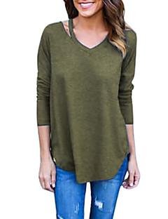 billiga Damöverdelar-Enfärgad T-shirt-Vintage Ledigt Dam V-hals