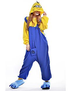 Kigurumi Pyjamas Anime Mini Gule Mænd Heldragtskostumer Pyjamas Kostume Polarfleece Blå Cosplay Til Voksne Nattøj Med Dyr Tegneserie