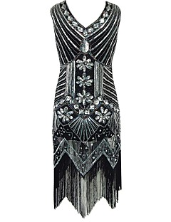 cheap Historical & Vintage Costumes-The Great Gatsby Vintage 1920s Costume Women's Party Costume Flapper Dress Cocktail Dress Ball Gown Khaki / Burgundy / Champagne Vintage Cosplay Sequin Party Prom Sleeveless Cold Shoulder Knee Length