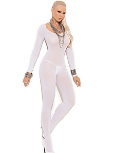 abordables -Costumes Vêtement de nuit Femme,Col Arrondi Solide-Fin Nylon Spandex Blanc Noir