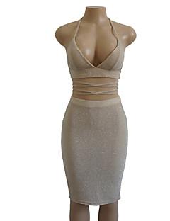 お買い得  レディースツーピースセット-女性用 ショート タンクトップ ソリッド ハイウエスト ドレス ストラップレス