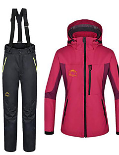 cheap Softshell, Fleece & Hiking Jackets-Women's Hiking Jacket with Pants Outdoor Winter Waterproof Thermal / Warm Windproof Fleece Winter Jacket 3-in-1 Jacket Pants / Trousers