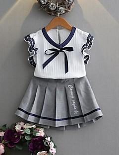 billige Tøjsæt til piger-Pige Tøjsæt Ensfarvet, Bomuld Polyester Sommer Uden ærmer Simple Grå