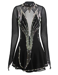 cheap Ice Skating Dresses , Pants & Jackets-Figure Skating Dress Women's / Girls' Ice Skating Dress Black Spandex Rhinestone High Elasticity Performance Skating Wear Handmade Ice