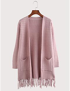 baratos Suéteres de Mulher-Mulheres Manga Longa Algodão Longo Carregam - Sólido Algodão