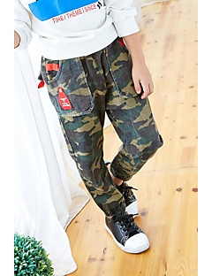 billige Drengebukser-Drenge Bukser Mønster, Bomuld Polyester Forår Efterår Simple Army Grøn
