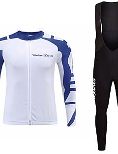 billiga Cykling-Wisdom Leaves Långärmad Cykeltröja med Haklapp-tights - Purpur / Himmelsblå / Grön Cykel Tröja / Klädesset Polyester Geometrisk / Elastisk