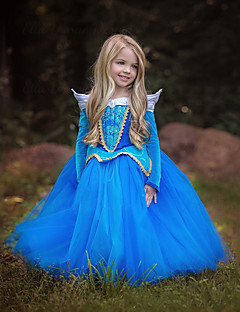 cheap Kids Halloween Costumes-Princess Cinderella Fairytale Dress Children's Christmas Masquerade Birthday Festival / Holiday Halloween Costumes Blue Pink Color Block