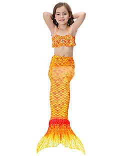 billige Halloweenkostymer-The Little Mermaid Skjørt Barne Halloween Festival / høytid Halloween-kostymer Grønn Blå Rosa Gylden Fuksia Havfrue Halloween