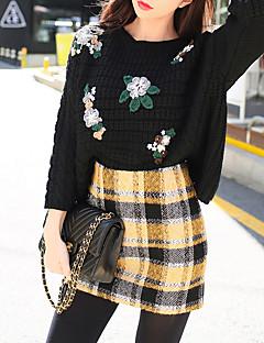 billige Kvinner Gensere-Dame Vintage Pullover - Ensfarget
