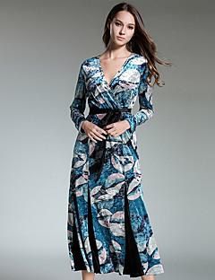 Kadın Günlük/Sade Vintage Çan Elbise Desen Zıt Renkli,Uzun Kol V Yaka Midi Pamuklu Sonbahar Normal Bel Mikro-Esnek Opak