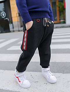 billige Gutteklær-Gutt Bukser Stripet Polyester Vinter Aktiv Svart