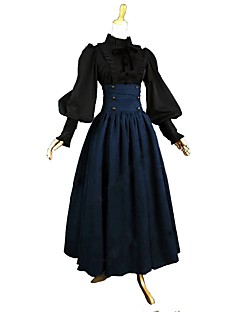 cheap Lolita Dresses-Outfits Vintage Inspired Victorian Costume Women's Adults' Girls' Skirt Blouse/Shirt Blue/Black Vintage Cosplay Cotton Long Sleeves