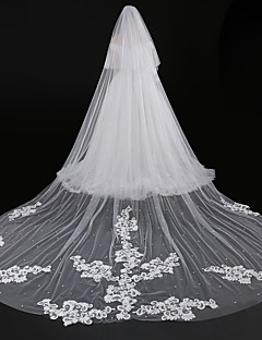 Two Tier Modern Style Flower Accessories Lace Applique Edge European Oversized Bridal Princess