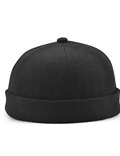 billige Trendy hatter-Unisex Vintage Fritid Beanie Hatt Beret Bowlerhatter Fedora Solhatt Skilue,Alle årstider Ensfarget Bomull Klassisk Stil Blå Svart