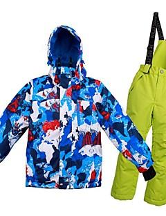 billiga Skid- och snowboardkläder-Flickor Pojkar Skidjacka och -byxor Varm Ventilerande Vindtät Bärbar vattenbeständigt Skidåkning Multisport Vintersport Polyester Mesh