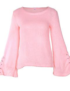 tanie Swetry damskie-Damskie Flare rękawem Pulower Jendolity kolor Długi rękaw
