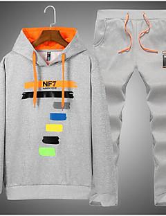 billige Hættetrøjer og sweatshirts til herrer-Herre Sport Rund hals Aktiv beklædning sæt - Ensfarvet