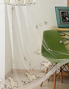 baratos Cortinas Transparentes-Barra no Interior Anéis Presilhas Duplo Plissado Único Plissado Tratamento janela Crianças e adolescentes, Bordado Estampa Animal Quarto