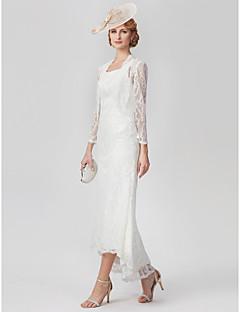 billiga Klänningar till brudens mor-A-linje Scoop Neck Asymmetrisk Heltäckande spets Klänning till brudens mor med Spets / Plisserat av LAN TING BRIDE®