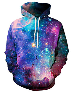 cheap Men's Hoodies & Sweatshirts-Men's Plus Size Active Long Sleeve Hoodie - Galaxy / 3D Hooded Purple XL / Spring / Winter