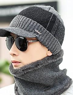 お買い得  ファッション帽子-男性用 冬 オフィス カジュアル ニット ソリッド フロッピーハット ニット ブラック グレー